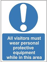 Pack of 50 x All Visitors Must Wear Personal