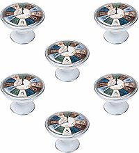 Pack of 6 Metal Silver Patina White Clock Cabinet