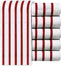  Pack of 6 Vintage Multi-Stripe Jacquard Weave Tea