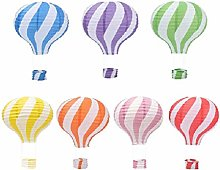 Pack of 7 New Pattern Stripy Hot Air Balloon Paper