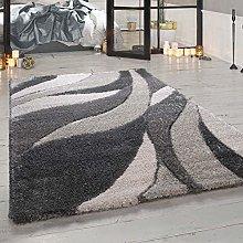 Paco Home Deep-Pile Rug Grey Living Room Shaggy