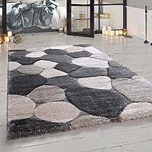 Paco Home Deep-Pile Rug Living Room Grey Stone