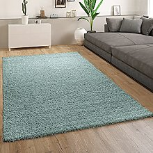 Paco Home Deep-Pile Rug Living Room Turquoise Blue
