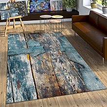 Paco Home Designer Rug Colourful Wood Effect Long