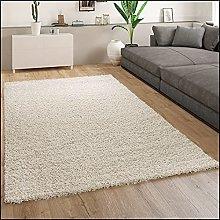 Paco Home Rug Deep-Pile Shaggy Beige Living Room