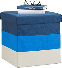 Padded Storage Ottoman, Colourful, Striped Seat,