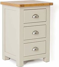 Padstow Stone Grey Bedside Table Cabinet with Oak