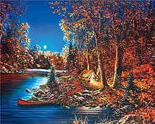 Paint by number Moonlight Jungle River Tent DIY