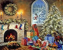 Paint by Numbers Christmas Garland Fireplace DIY