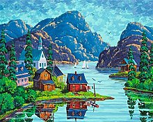 Paint by Numbers Kits Canvas Oil Painting Shanshui