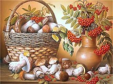 Paint by Numbers Mushroom Basket for Adults Canvas