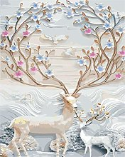 Paint by Numbers Snow Deer DIY Handpainted for