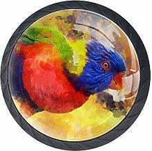 Painted Parrot with Screw Drawer Handle Glass