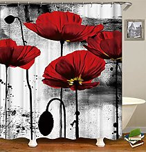 Painting Decoration. Red Flowers And Grey