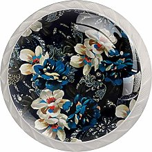 Painting Flowers Design Glass Knobs Cupboard Pulls