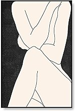 PAINTINGXXG Abstract Nude Woman Line Drawing