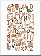 PAINTINGXXG Animal Alphabet Poster Educational ABC