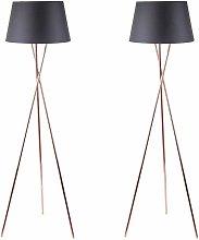 Pair Copper Tripod Floor Lamp with Black Fabric