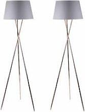 Pair Copper Tripod Floor Lamp with Grey Fabric
