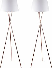 Pair Copper Tripod Floor Lamp with White Fabric