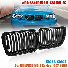 Pair Gloss Black Front Grill Grilles For BMW E36