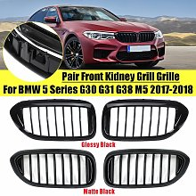 Pair Glossy Black Front Grille Grill for BMW 5