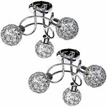 Pair of Chrome 3 Light Ceiling Fittings with