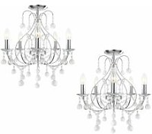 Pair of Chrome 5 Light Crystal Chandeliers