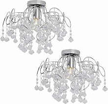 Pair of Chrome and Jewelled Droplets Semi Flush