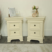 Pair of Cream 2 Drawer Bedside Chests - Daventry