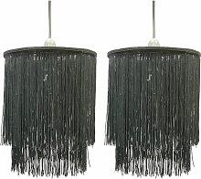 Pair of Grey 2 Tier Tassel Light Shades