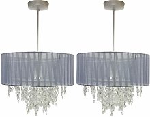 Pair of Grey Ribbon Jewelled 30cm Easy Fit Light