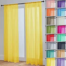 Pair Of John Aird Woven Voile Slotted Curtain