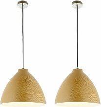 Pair of Modern Wood Effect Ceiling Light Dome