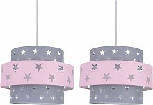 Pair of Pink and Grey Star Two Tier Light Shades
