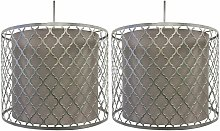 Pair of Silver Cut Out Light Shades