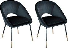 Pair of Velvet Dining Chairs - Black & Gold