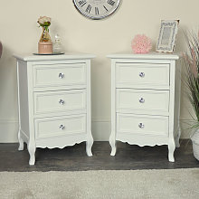 Pair of White 3 Drawer Bedside Tables - Victoria