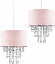 Pair Pink Ceiling Pendant Light Shade with Clear