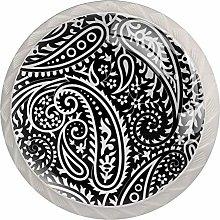 Paisley Black White Crystal Drawer Handles