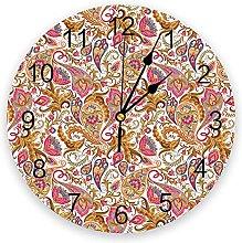 Paisley Flower 3D Wall Clock Modern Design Living