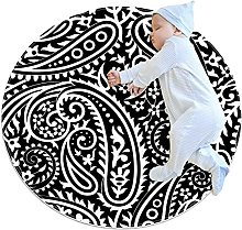 Paisley Pattern, Kids Round Rug Polyester Throw