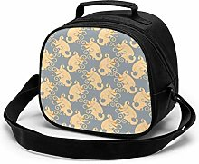 Paisley Yellow Wings Pattern Insulated Lunch Bag