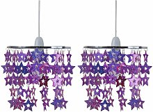 Pait Pink and Purple Sparkly Star Design Easy Fit