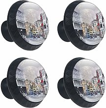 Paiting City Cabinets Knobs 4pcs for Home Office