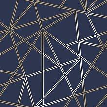 Paladium Geometric Metallic Apex Wallpaper - Navy