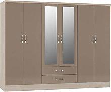 PALAKLOT High Gloss 6 Door 2 Drawer Mirrored