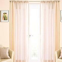 Pale Gold Sparkle Voile Curtain Panel Slot Top
