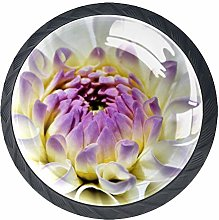 Pale Purple Flowers 4 Pieces Crystal Glass