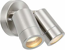Palin Dual Head Twin Brushed Stainless Steel